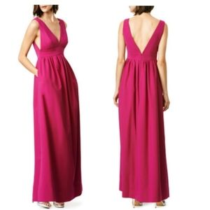 Jill Jill Stuart Deep V-neck Gown Maxi Dress Pink